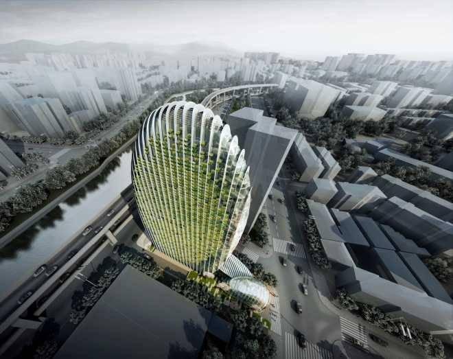 Aedas достраивает в Тайбэе офисное здание в форме гальки