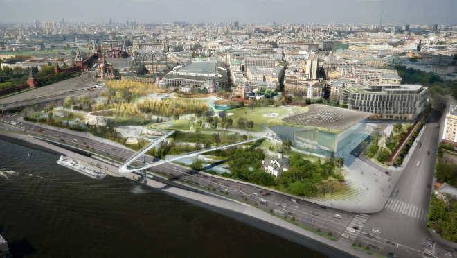 Парк «Зарядье» будет связан с Москва-рекой на трех уровнях