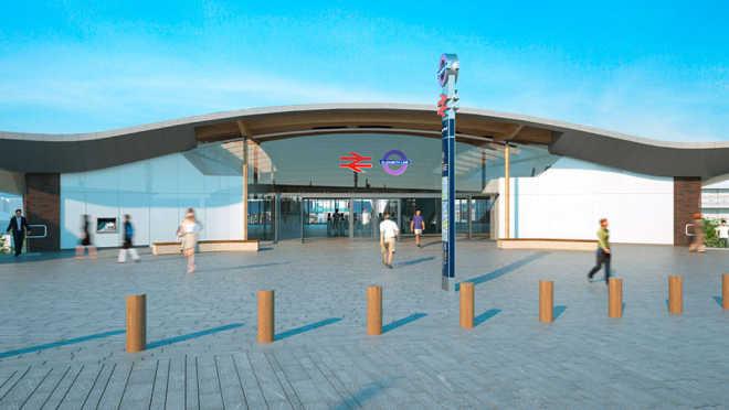 Деревянная крыша в форме ската-хвостокола для станции Crossrail в Лондоне