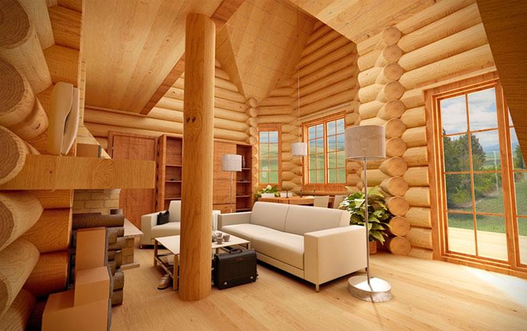Как выглядит дом из бруса внутри