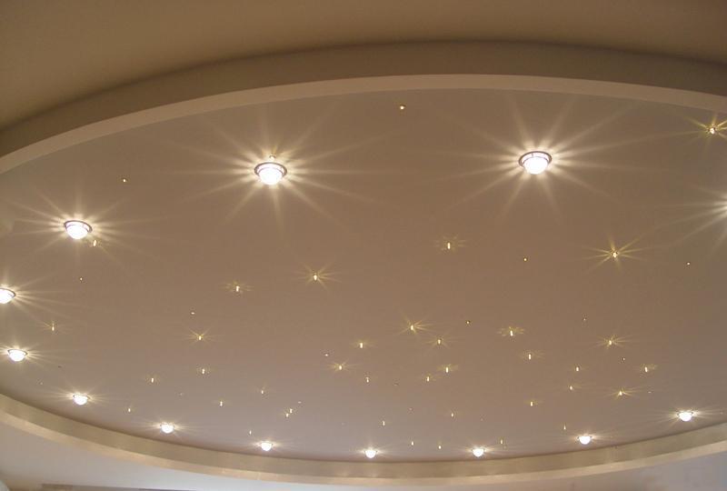 Все об освещении натяжных потолков
