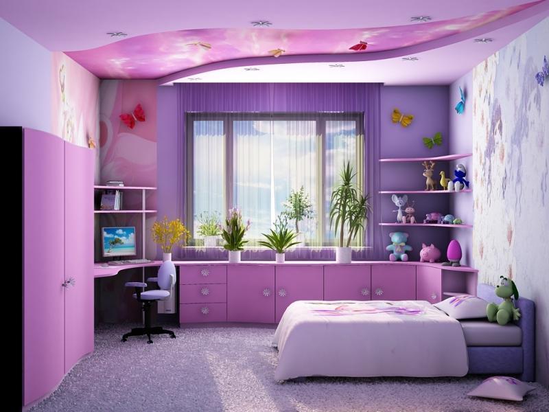 Натяжной потолок в детской комнате для школьника