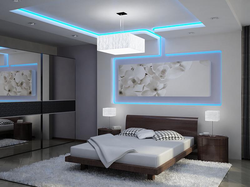 Подсветка натяжного потолка: виды, варианты и особенности монтажа