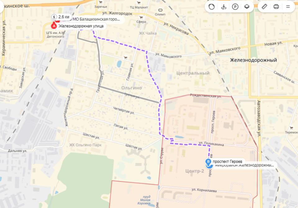Расстояния до обслуживающей жителей микрорайона больницы