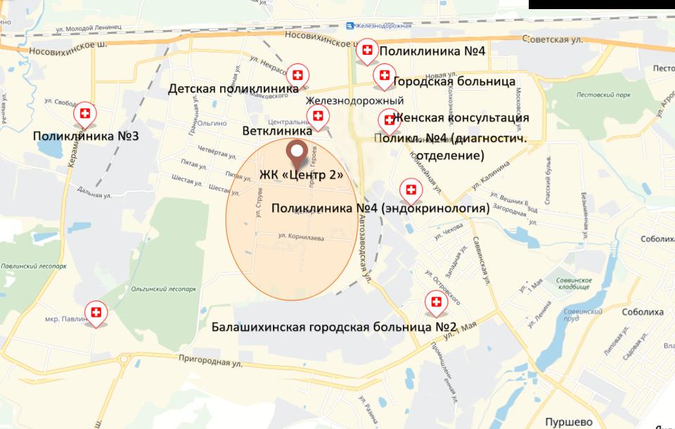 """Медучреждения в окружении ЖК """"Центр 2"""""""